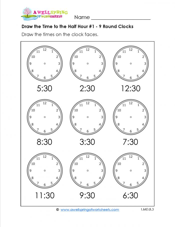 1st grade Telling Time Worksheets