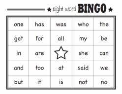 Best Kindergarten Sight Words Bingo Games
