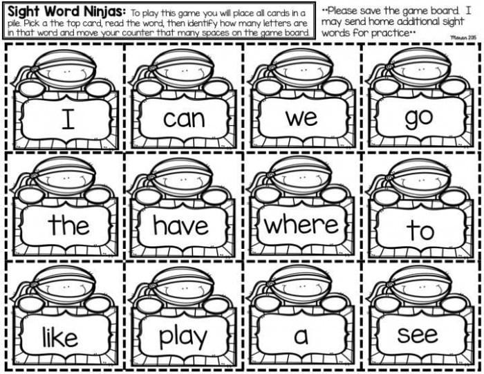 Sight Word Make And Take Game
