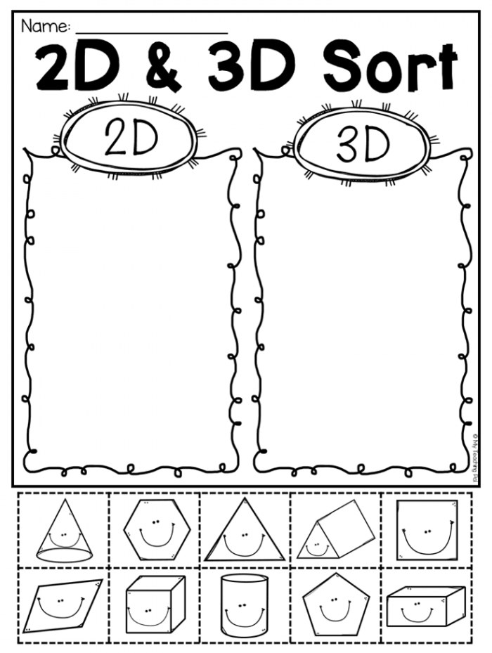 First Grade D And D Shapes Worksheets