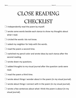 My Reading Checklist