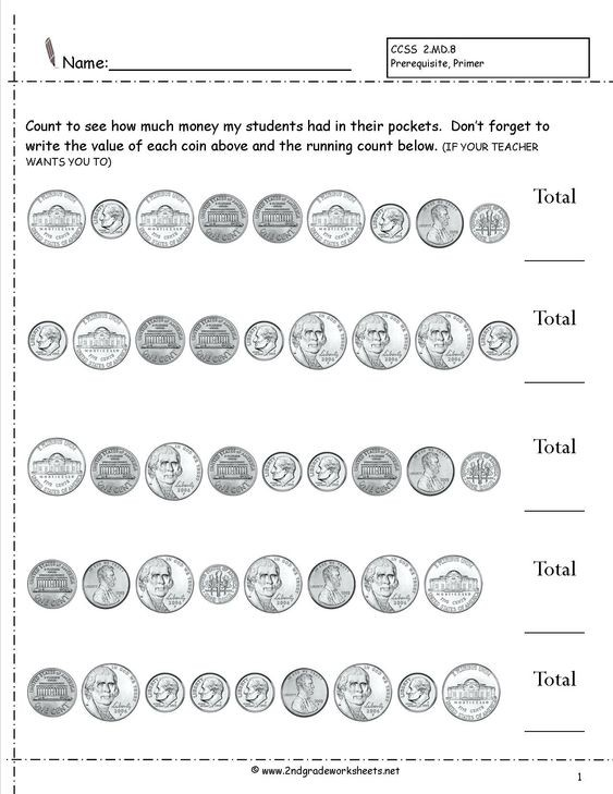 3rd Grade Counting Money Worksheets