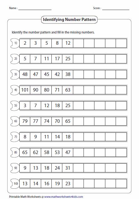 3rd Grade Patterns Worksheets