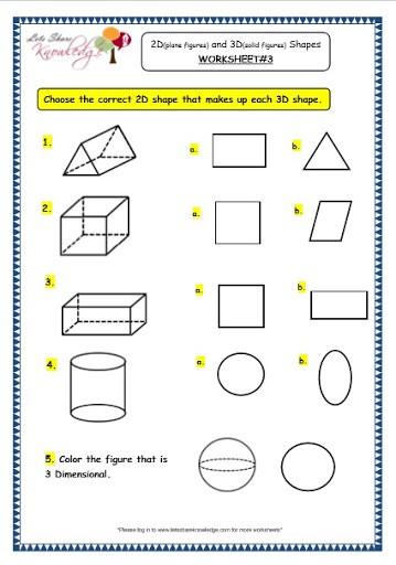 3rd Grade Three Dimensional Shapes Worksheets