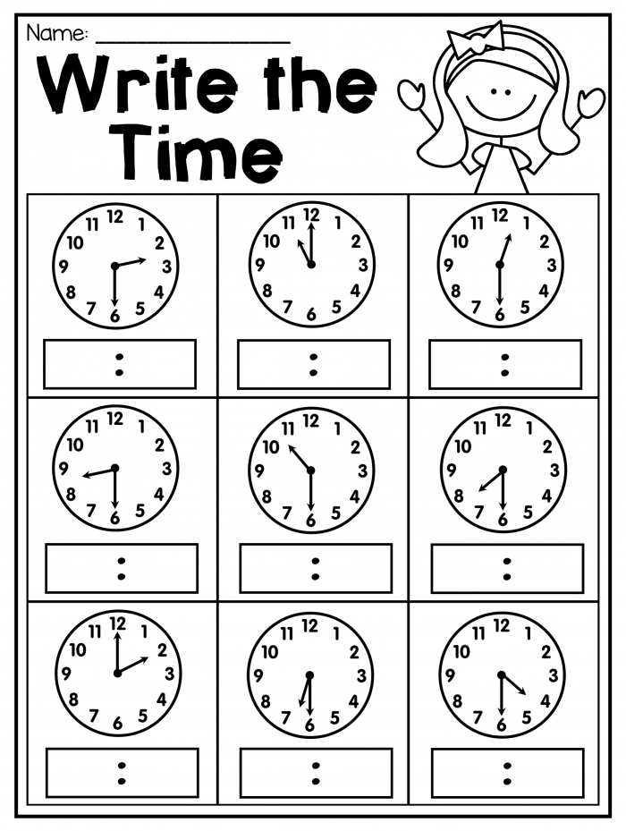 Half Hour Worksheets | 99Worksheets