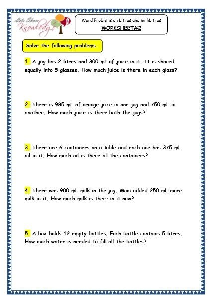5th Capacity Word Problem Worksheets