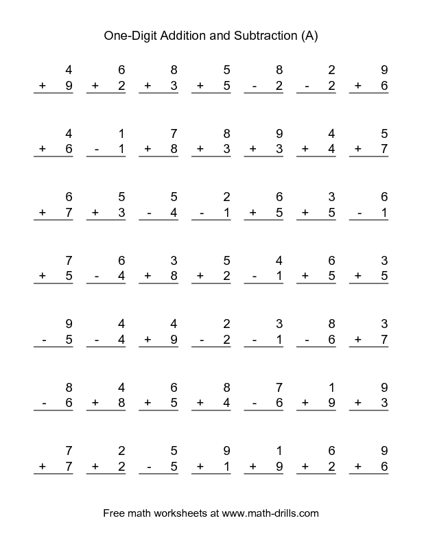 Combined Addition And Subtraction Worksheet