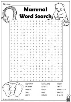 Animal Word Search: Mammals