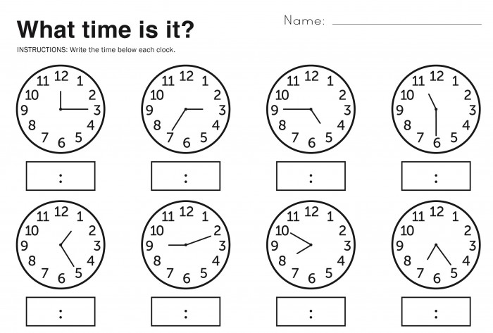 Simple Telling Time Worksheets for Elementary Students