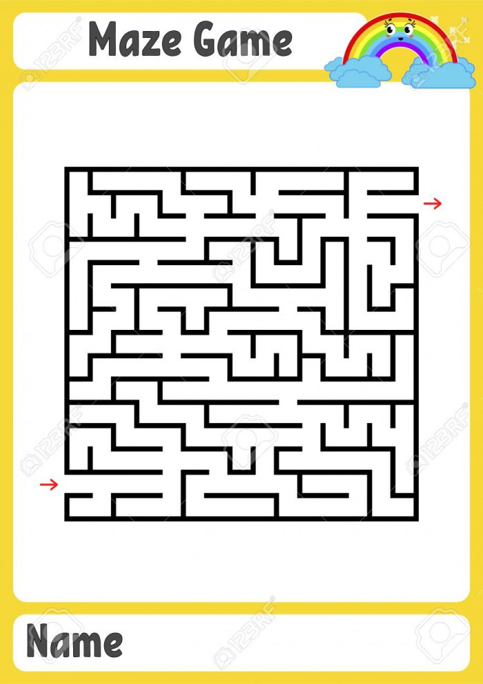 Abstract Square Maze Kids Worksheets Game Puzzle For Children