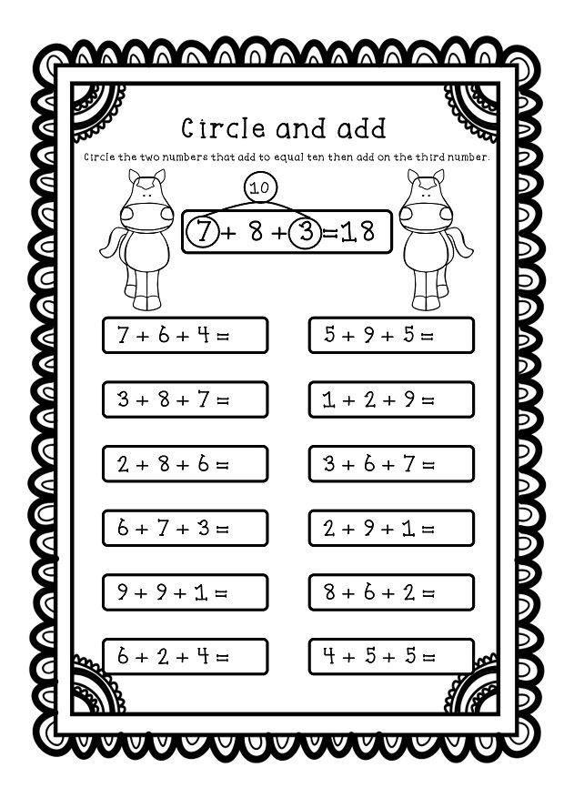 Adding Three Numbers Add  Numbers Worksheets  Printables