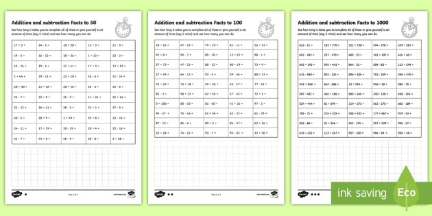 Addition And Subtraction Facts Speed Test Worksheets