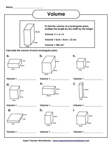 Th Grade Math Volume Worksheets