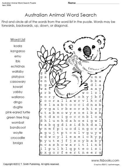 Australian Animal Word Search Puzzle