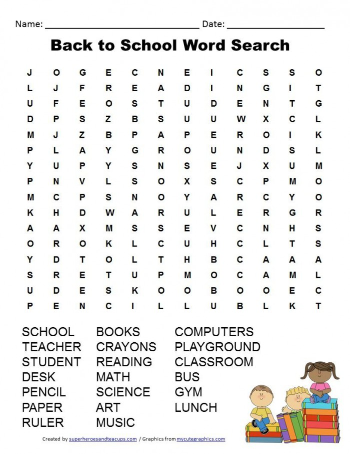 Back To School Word Search Free Printable With Images