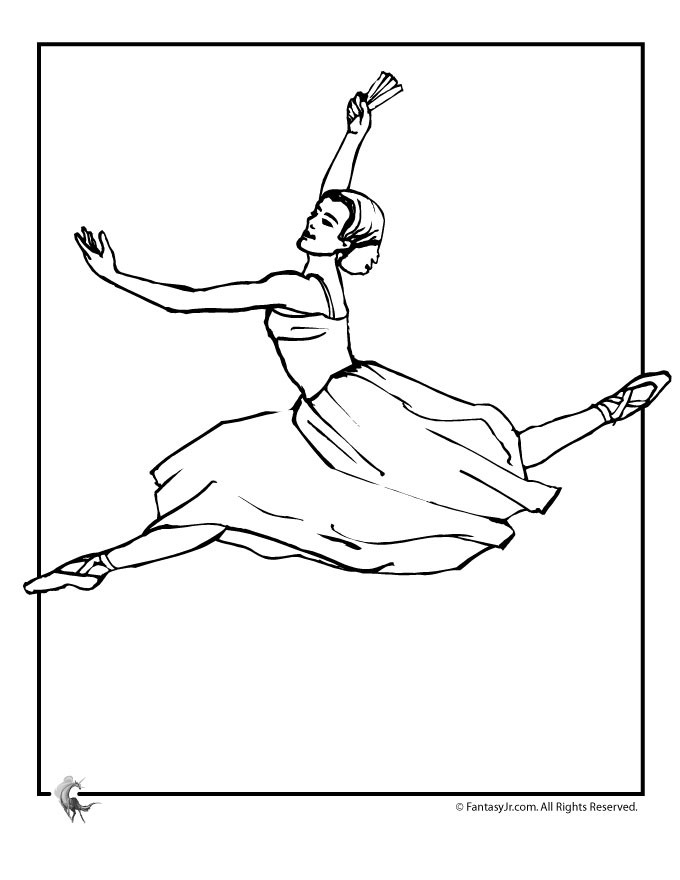 Ballerina Leap Coloring Page