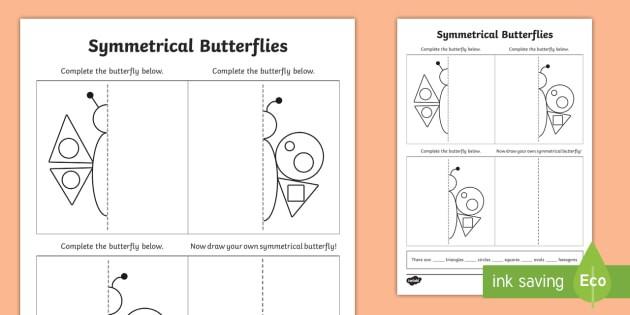 Butterfly Symmetry Shape Worksheet  Worksheet Minibeasts