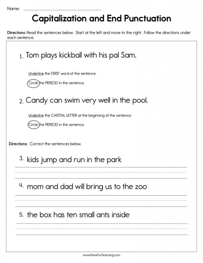 Finish That Sentence: Punctuation Worksheets 99Worksheets