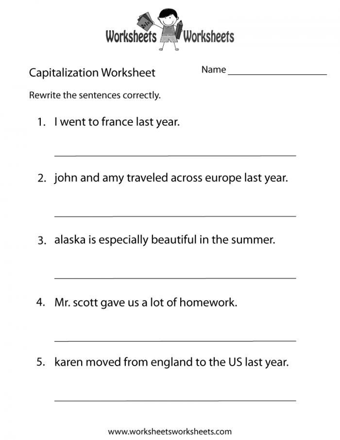 Practice Capitalization Worksheets   99Worksheets