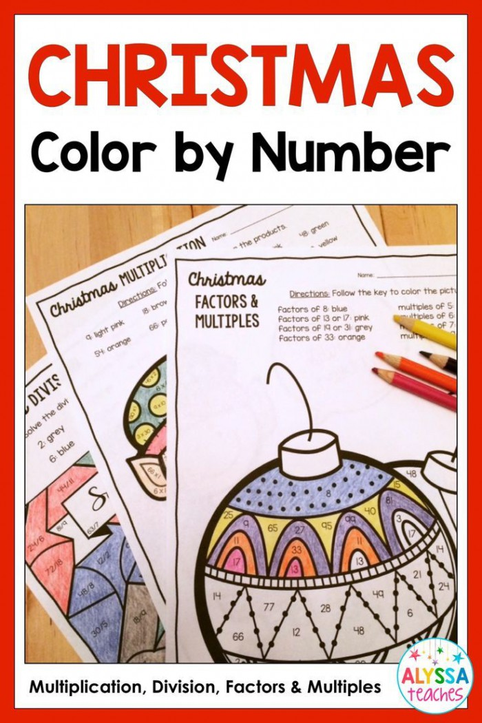 Christmas Color By Number Multiplication  Division  And Factors