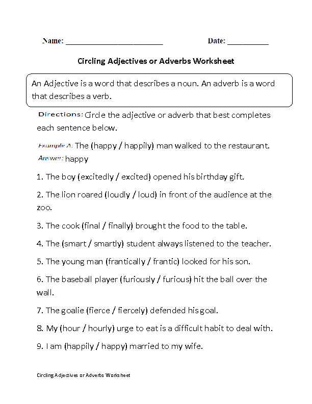 Circling Adjectives Or Adverbs Worksheet Part  Beginner