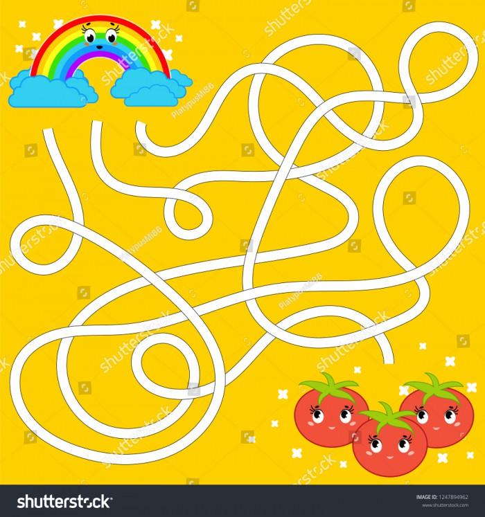 Color Abstract Maze Help Rainbow Reach Stock Vector Royalty Free