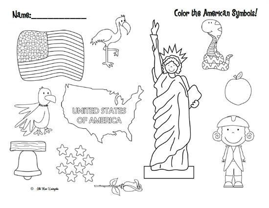Color The American Symbols Free Patriotic Printable  Supplyme