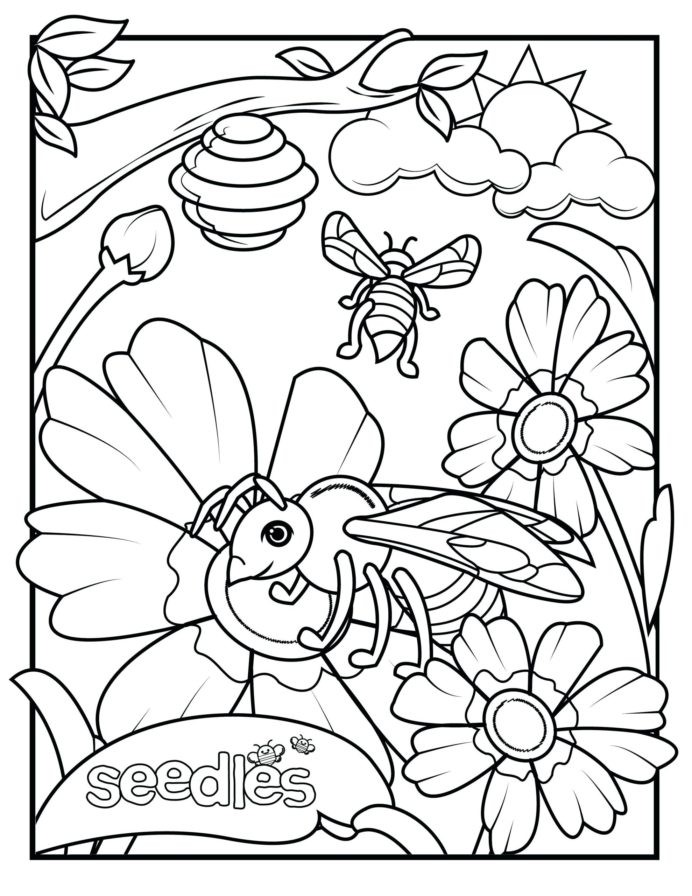Coloring Color Bumble And Flower Honey For Preschool Theme