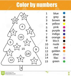 Color By Number Christmas Tree