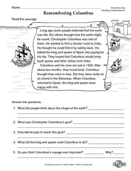 Columbus Day Worksheet Reading Comprehension Reading
