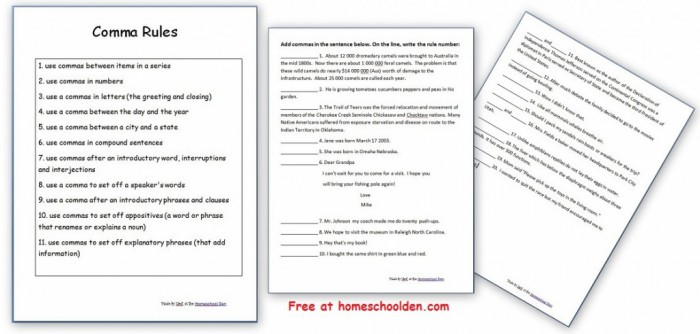 Comma Rules And Practice Free Worksheets