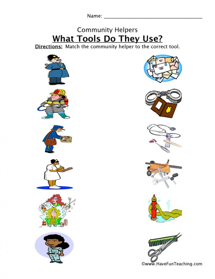 Community Helper Tools Matching Worksheet  Have Fun Teaching