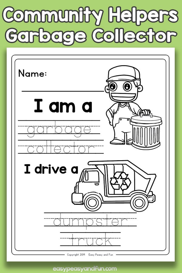 Community Workers Garbage Collector Worksheets  Easy Peasy And