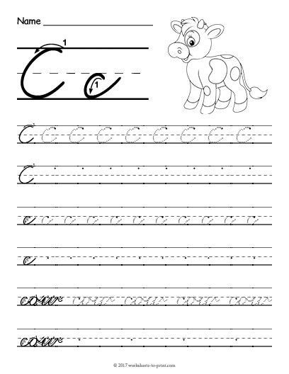 Cursive C Worksheet