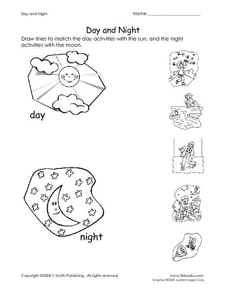 Day And Night Worksheet For Pre