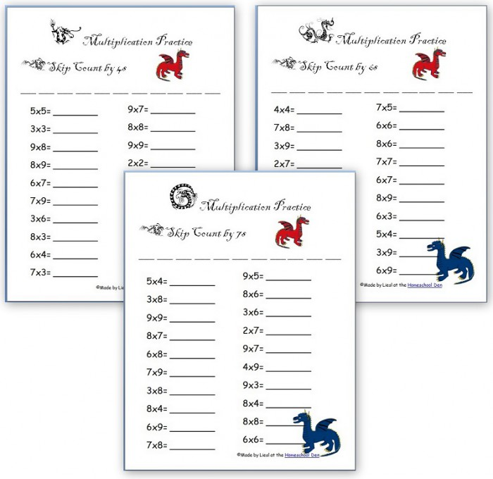 Dragon Themed Multiplication  Division And Addition Worksheet