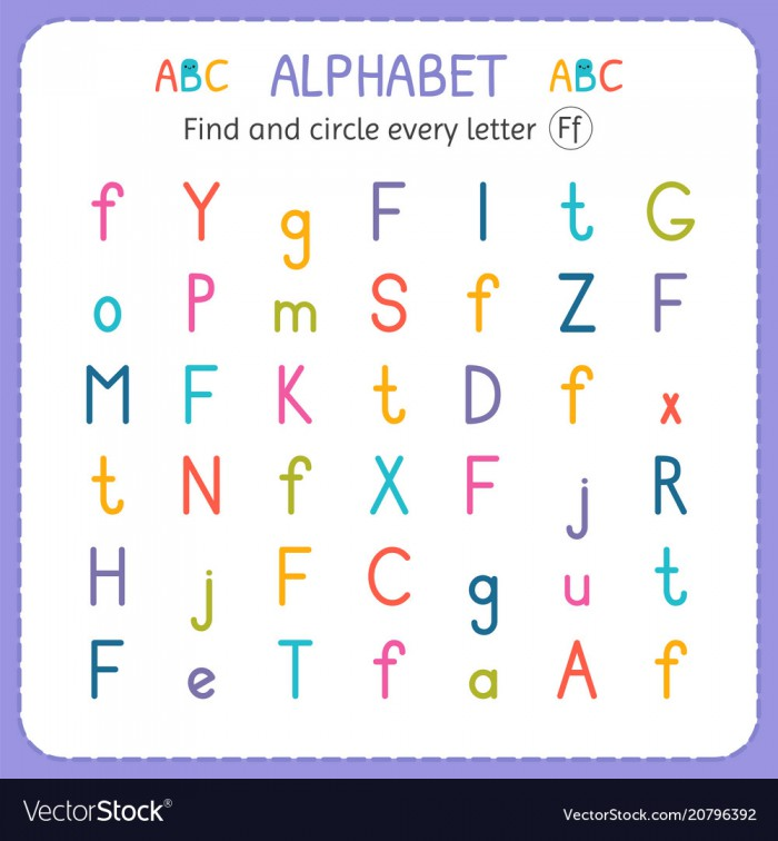 Find And Circle Every Letter F Worksheet For Vector Image