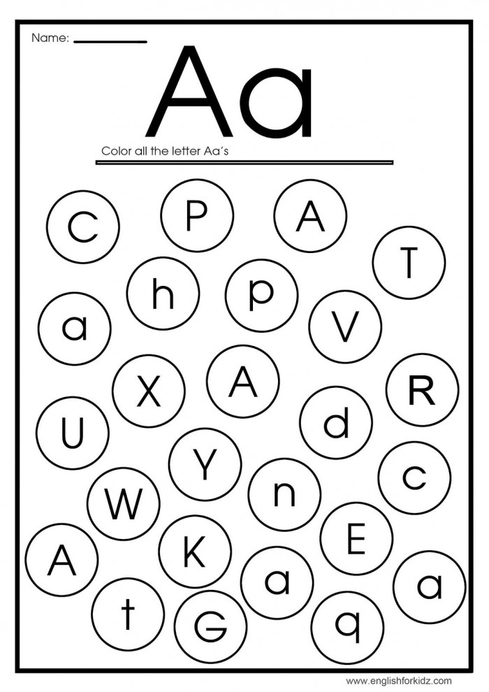"Find The Letters: ""A"" Worksheets 99Worksheets"