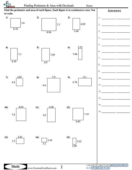 Finding Perimeter   Area With Decimals Worksheet