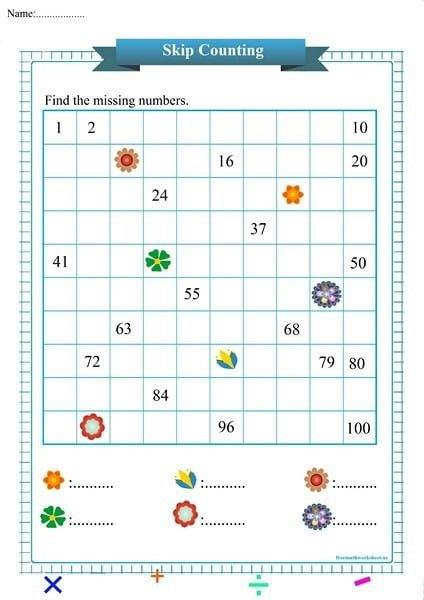 Flowers Skip Counting Chart Worksheet
