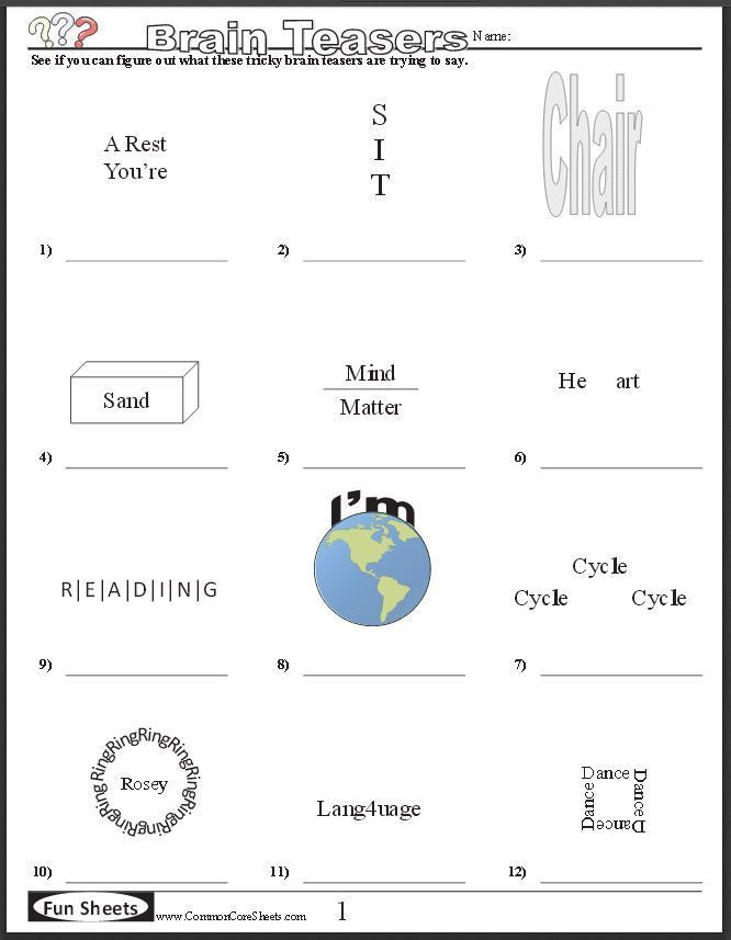 Free Brain Teaser Printables Four Free Worksheets That Will Keep