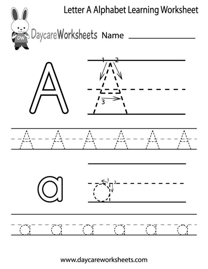 Free Letter A Alphabet Learning Worksheet For Preschool With
