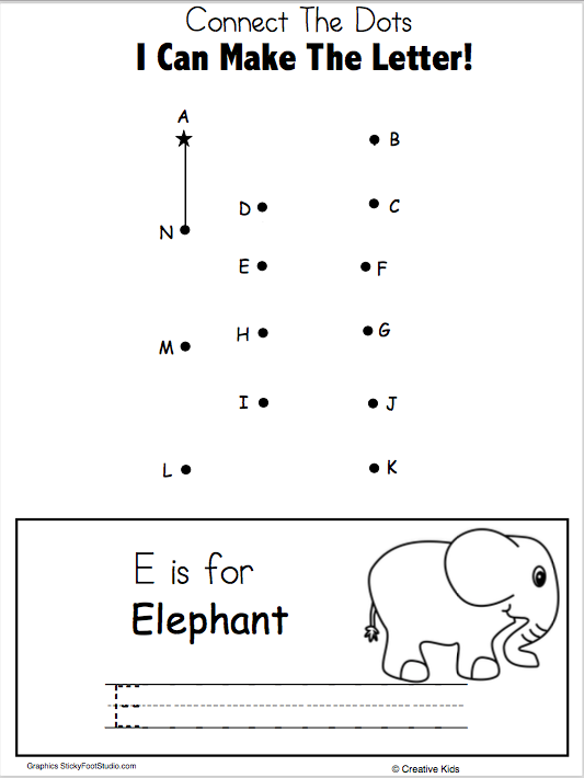 Free Letter E Writing And Dot To Dot Worksheet With Images
