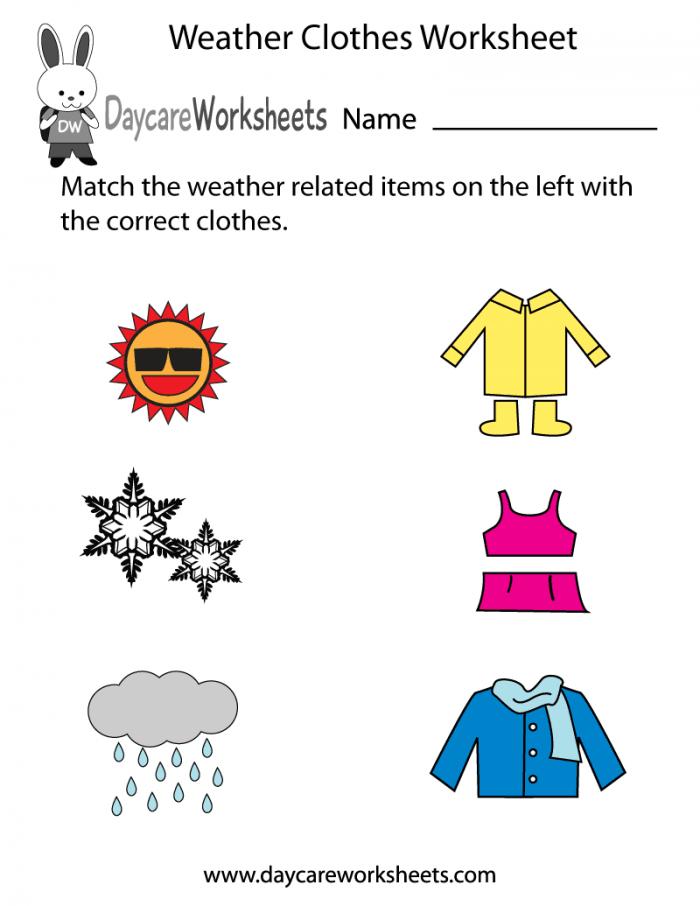 Free Preschool Weather Clothes Worksheet
