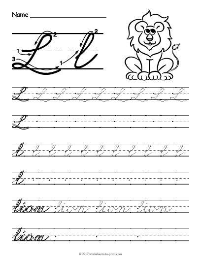 Free Printable Cursive L Worksheet With Images