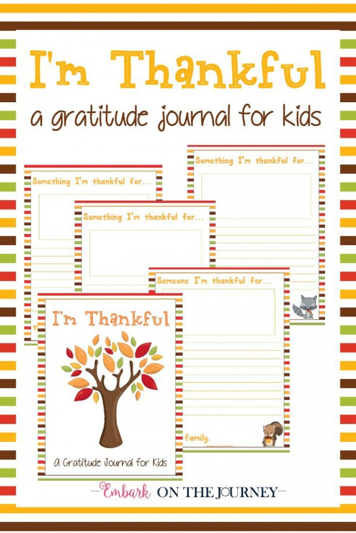 Free Printable Im Thankful Gratitude Journal For Kids With