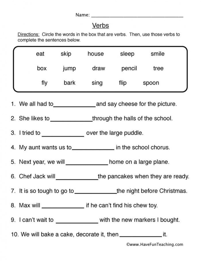 Get Into Grammar Fill In The Verb Worksheets