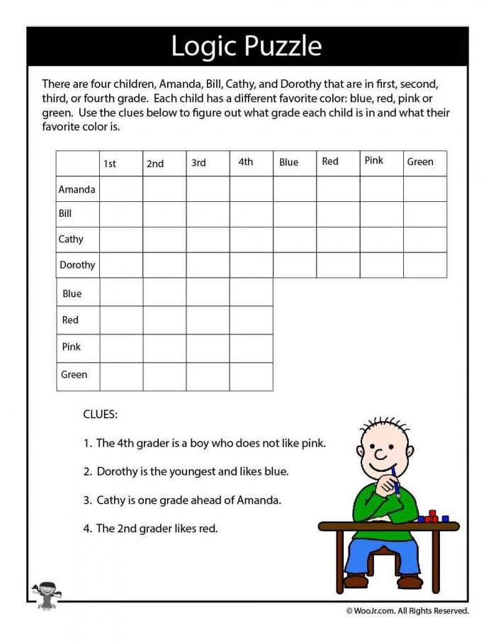Hard Logic Puzzle For Kids With Images