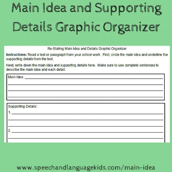 Helping Children To Identify Main Ideas And Supporting Details