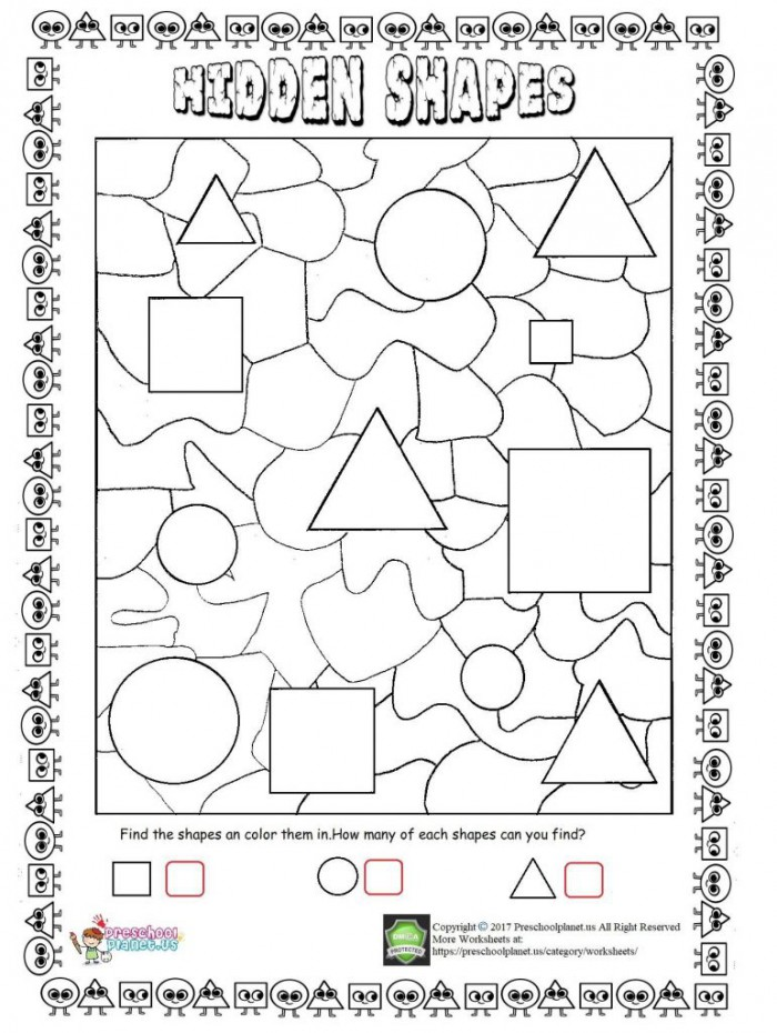 Hidden Shapes Worksheet  Preschoolplanet